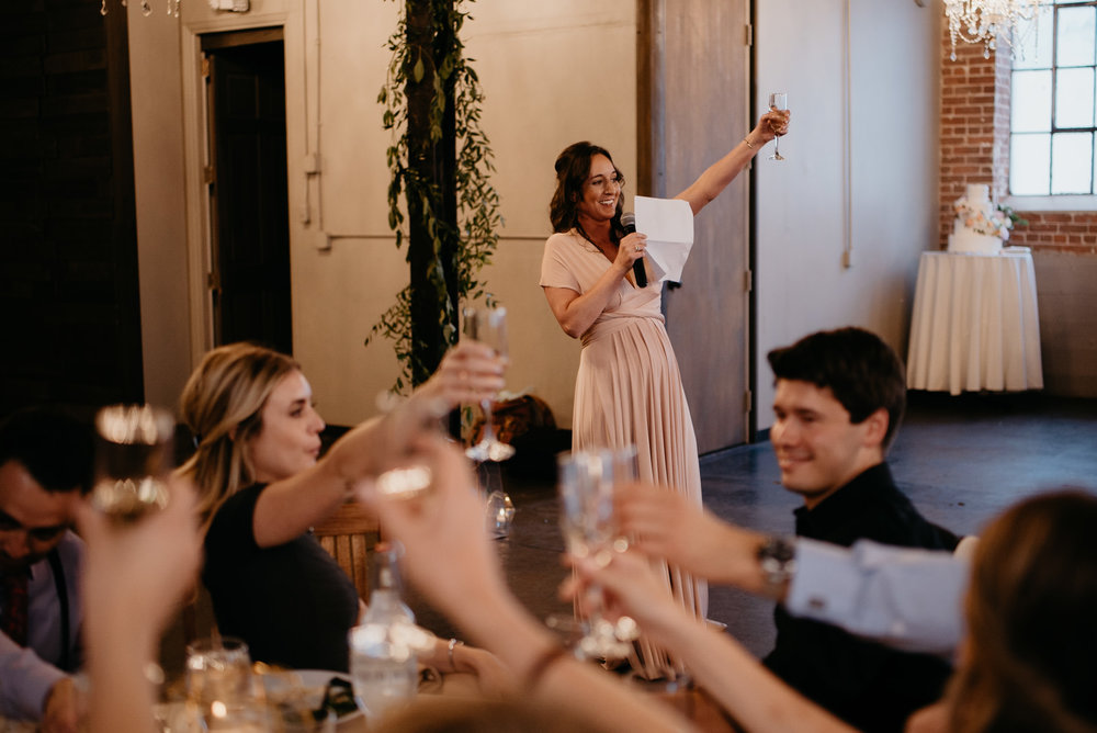 Speeches at Moss Denver wedding. Colorado wedding photographer.