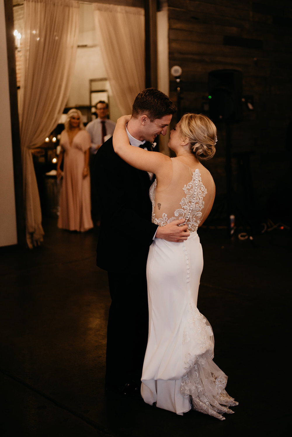 Downtown Denver wedding photographer. First dance at Denver wedding venue, Moss.