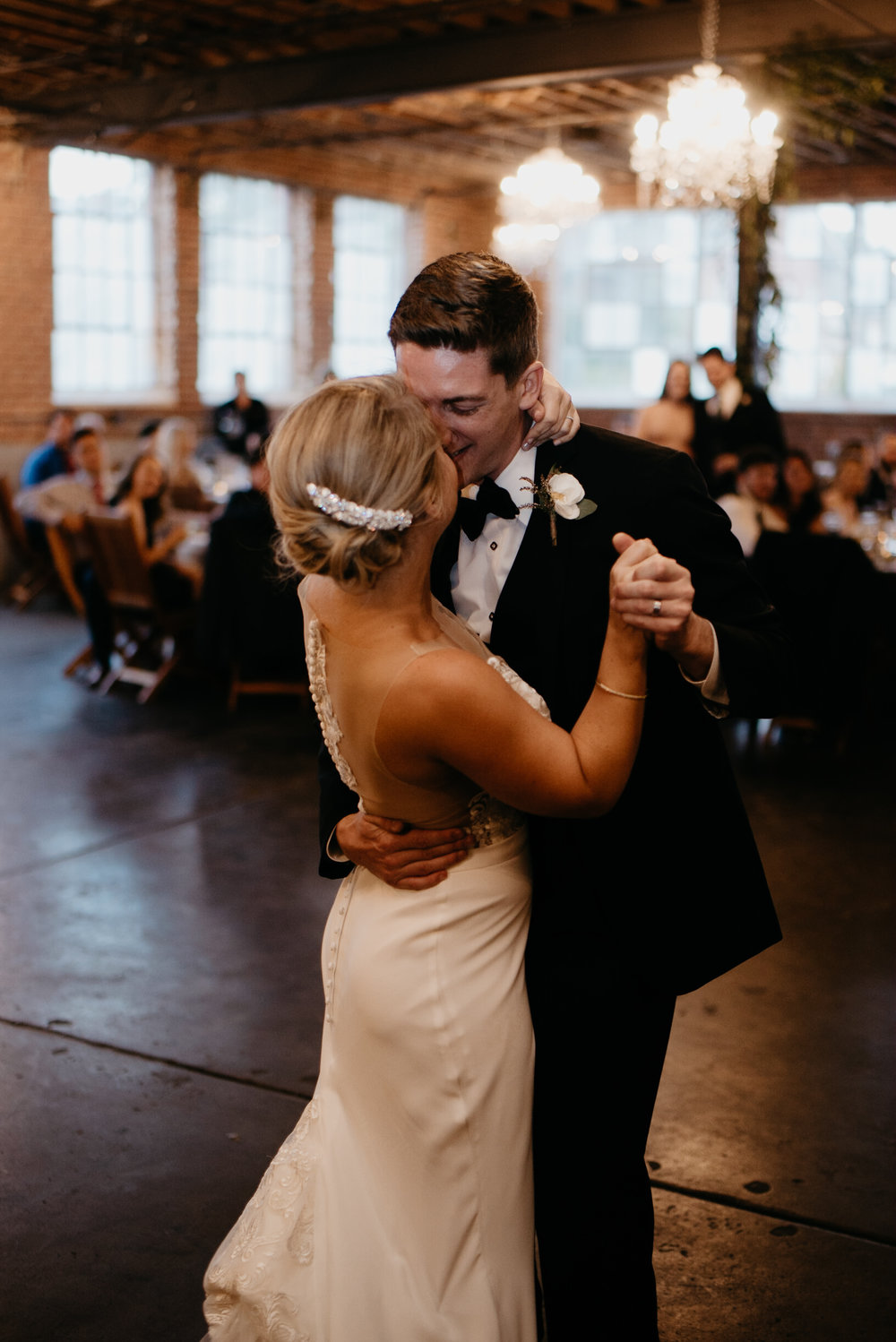 First dance at wedding at Moss Denver. Colorado wedding photographer.