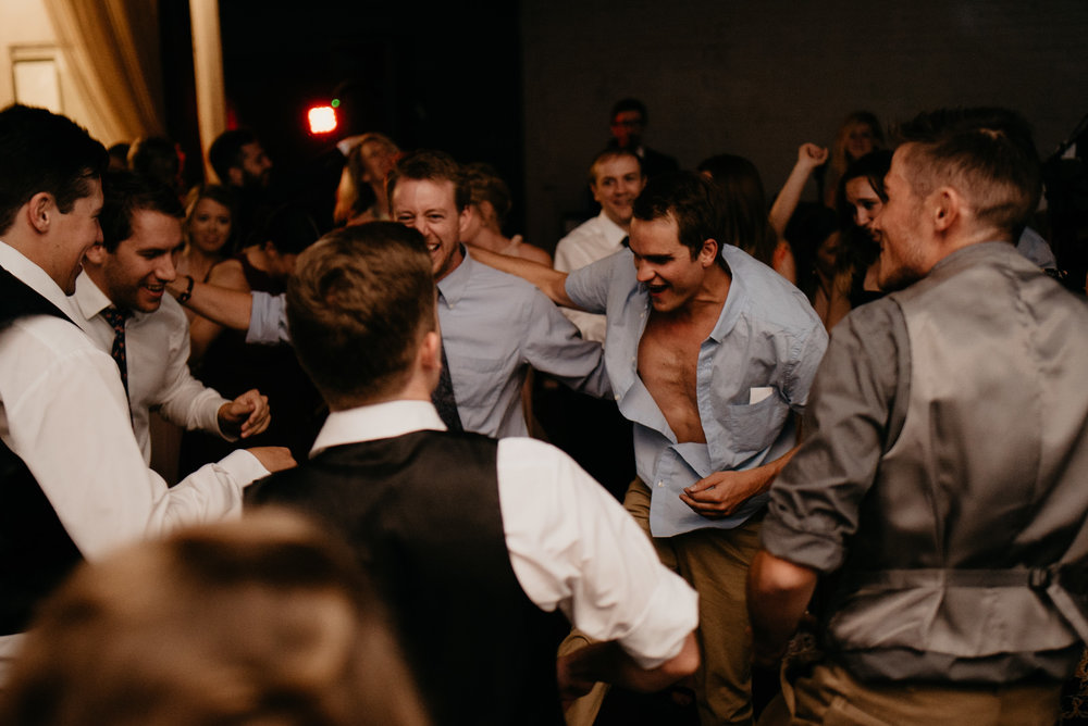 Moss Denver wedding reception dancing. Colorado wedding photographer.
