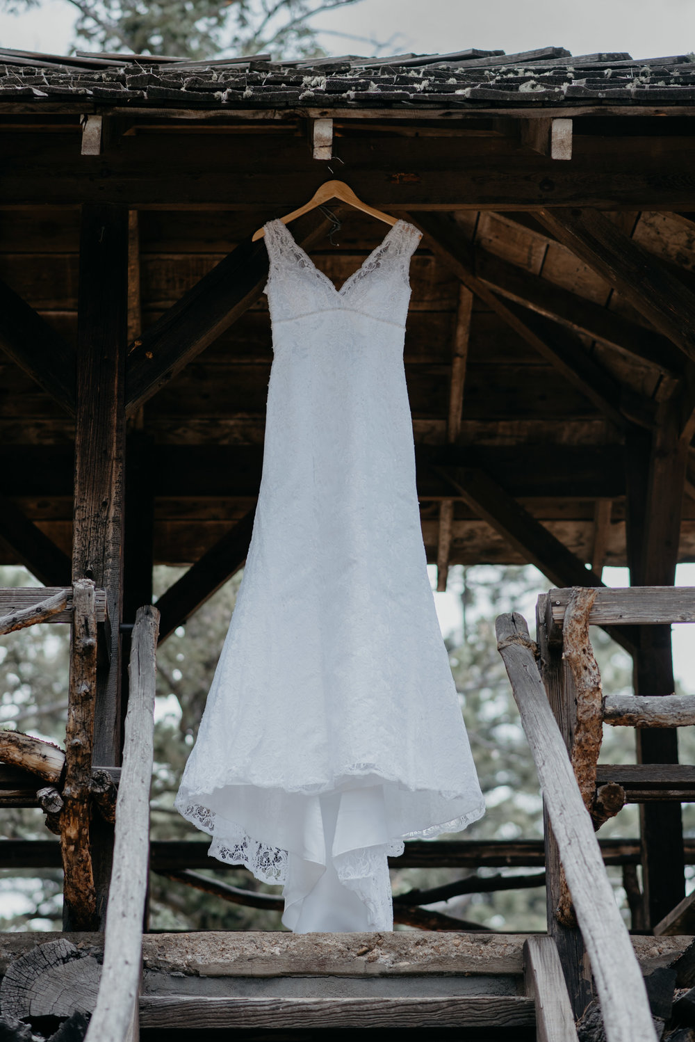 Rocky Mountain National Park elopement. Dress hanging, photo by Alyssa Reinhold.