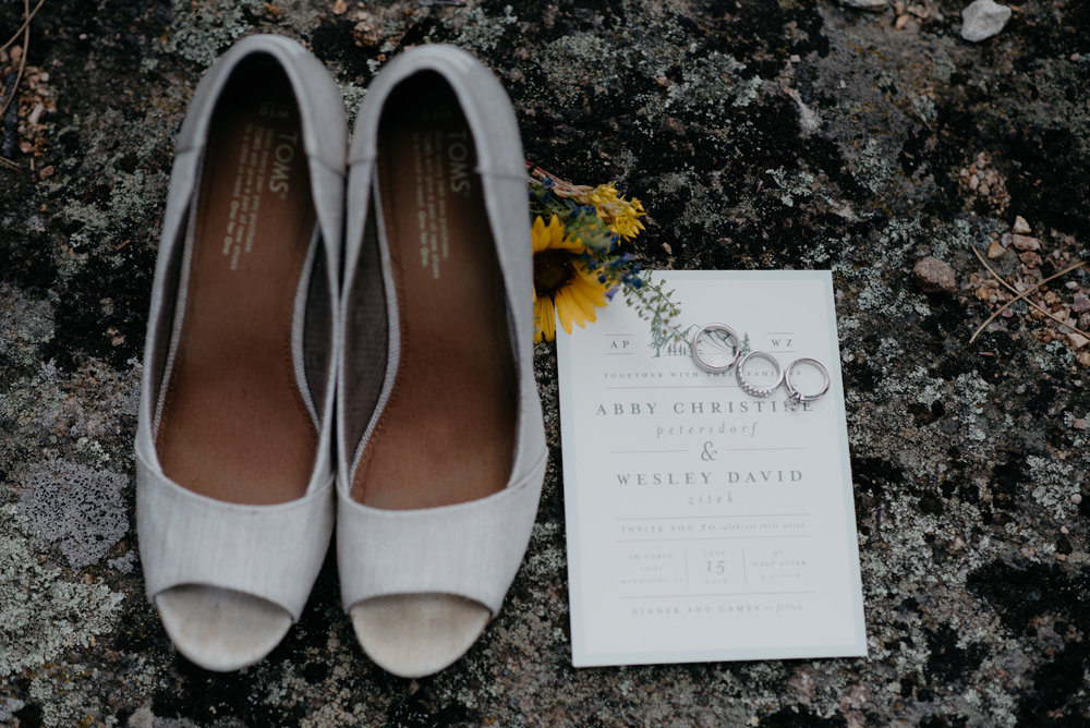 Rocky Mountain National Park elopement. Dress and shoes details.