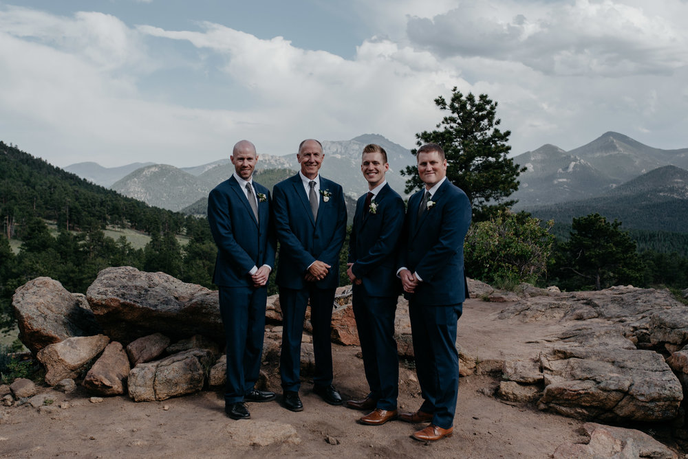Groomsmen photo at 3M curve wedding in Rocky Mountain National Park.