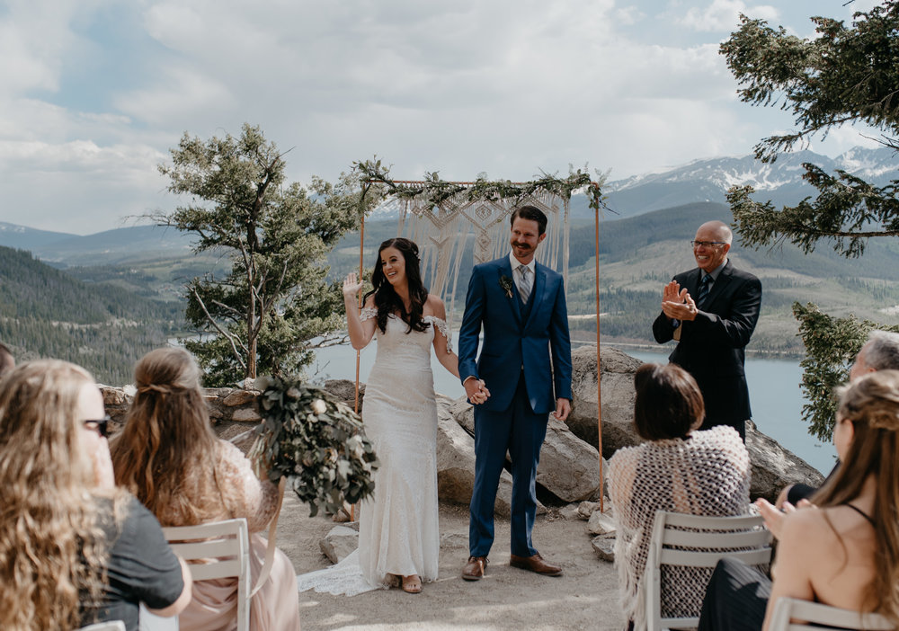 Ceremony photos at Sapphire Point in Breckenridge, Colorado. Colorado elopement and wedding photographer.