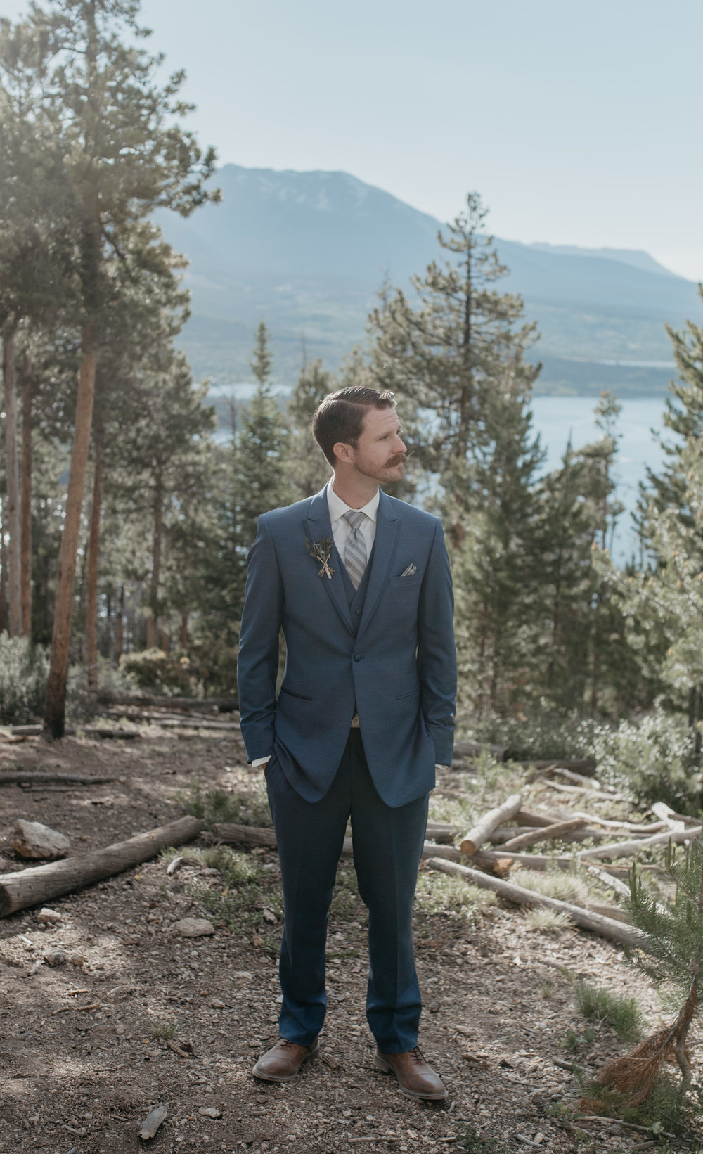 Photo of groom. Sapphire Point wedding in Colorado. Colorado elopement photographer.