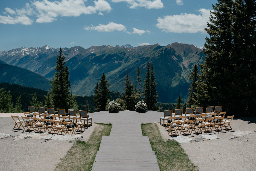 Aspen wedding deck at The Little Nell. Colorado wedding photographer.
