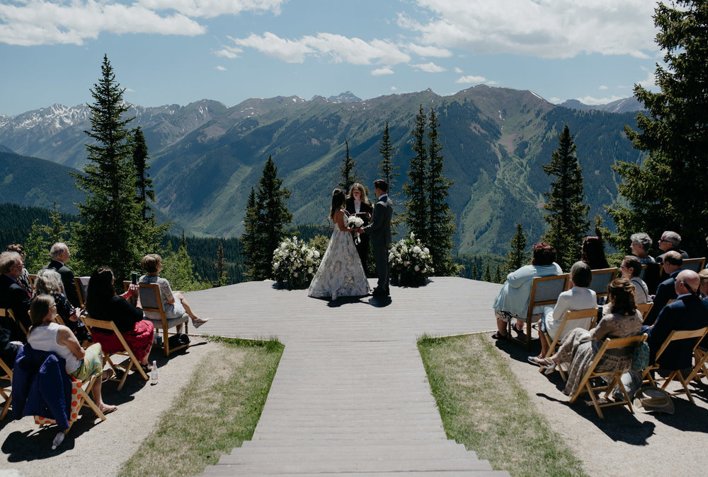 Aspen, Colorado wedding deck ceremony at The Little Nell.