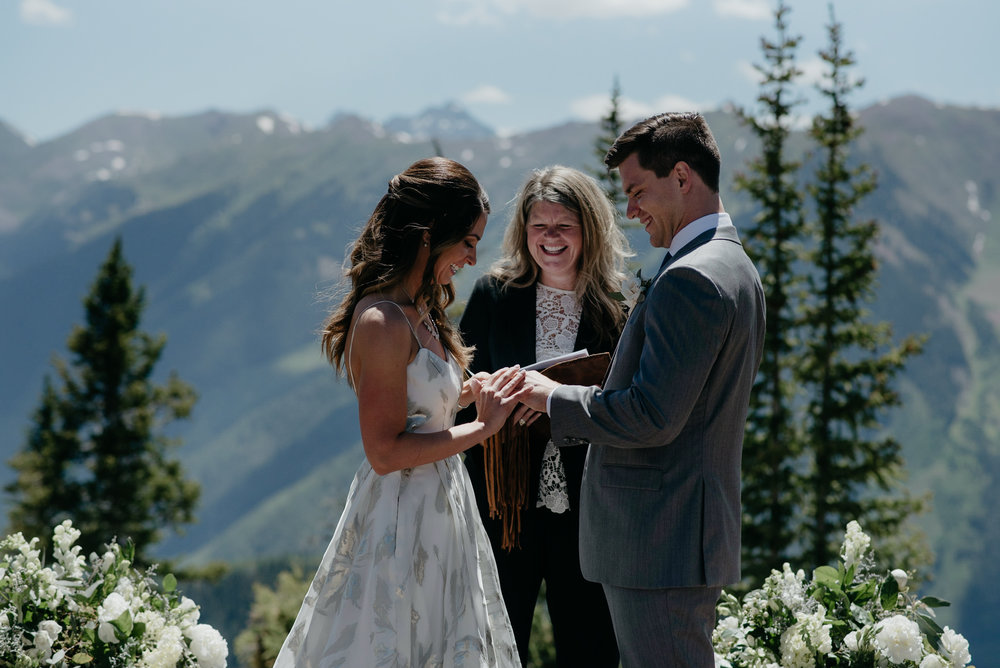 Ceremony at the Aspen wedding deck