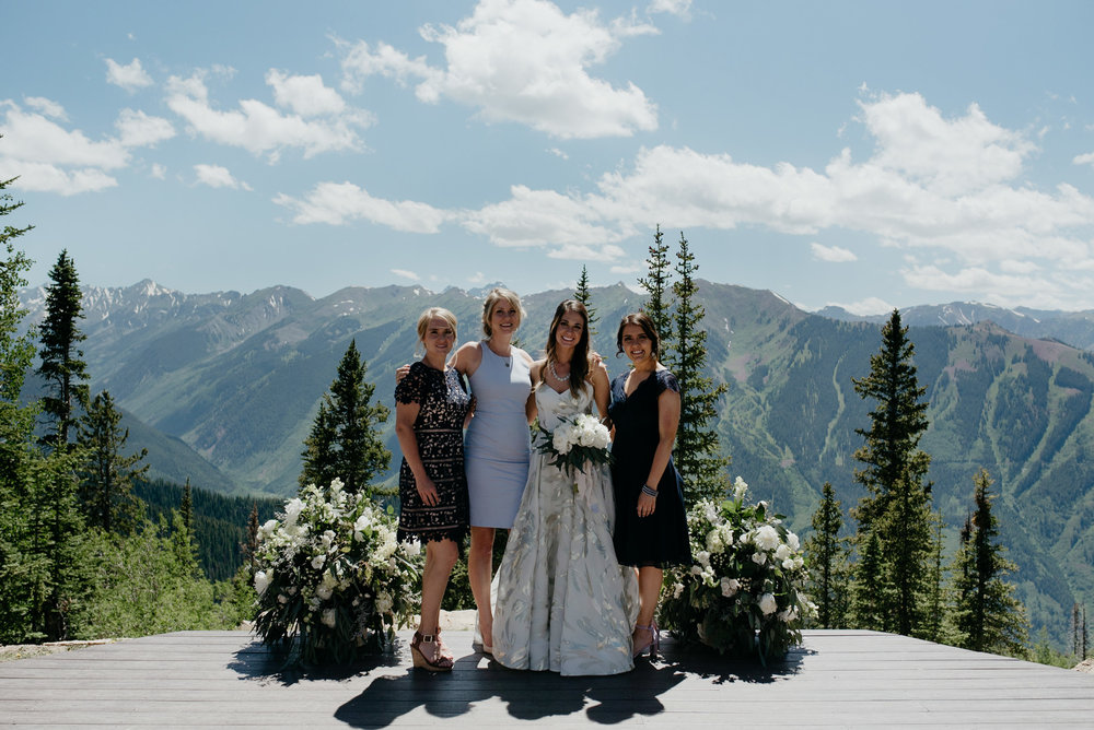 Photo of bridesmaids. The Little Nell luxury wedding in Aspen, Colorado