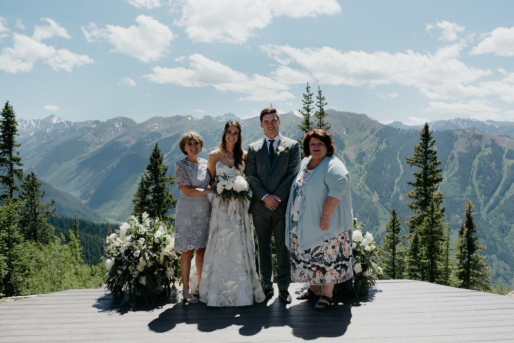 Family photos, The Little Nell wedding. Aspen, Colorado wedding photographer.