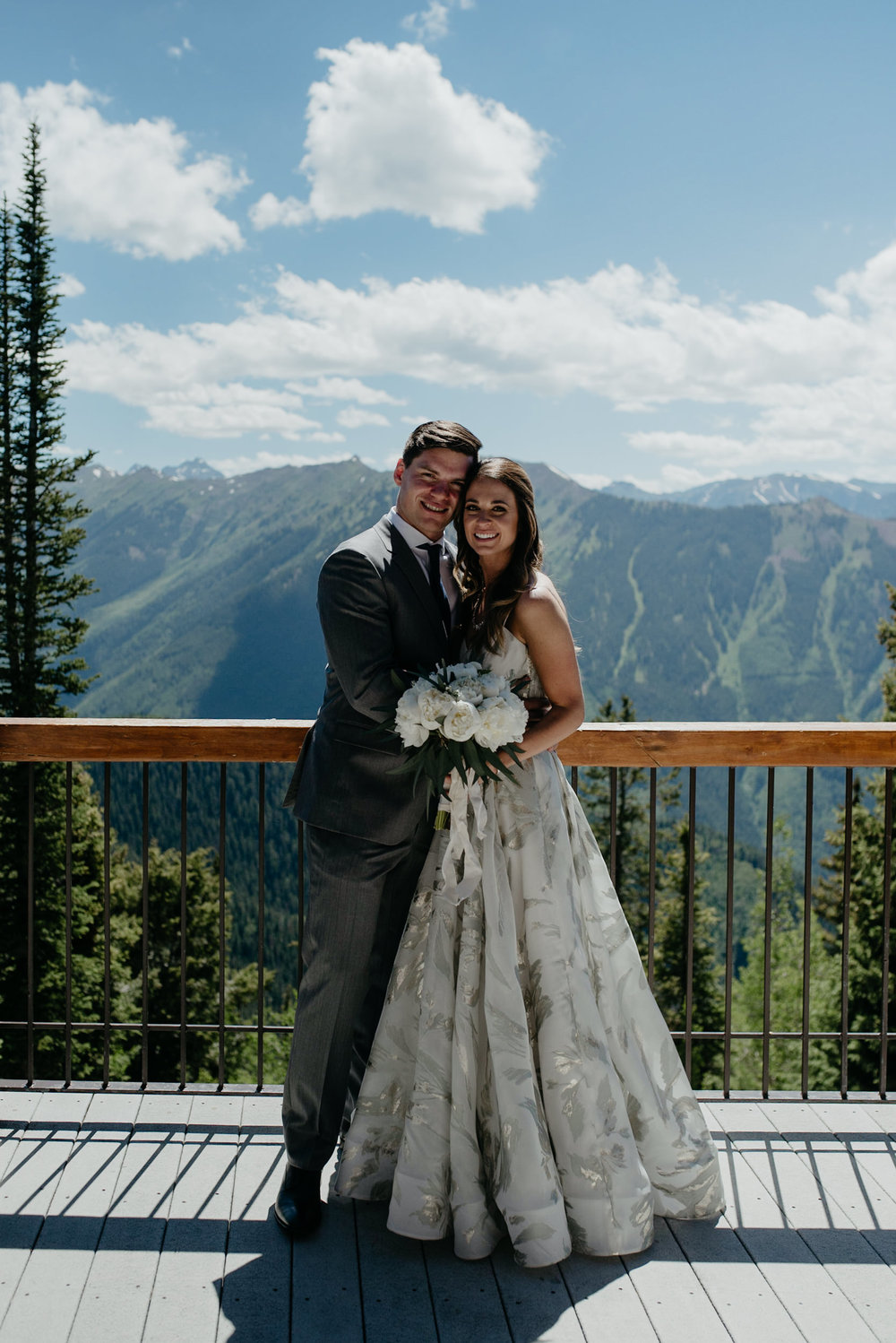 Photo of bride and groom. Aspen, Colorado wedding at The Little Nell.