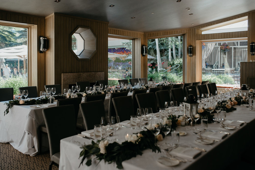 Reception details at The Little Nell. Aspen, Colorado wedding photographer