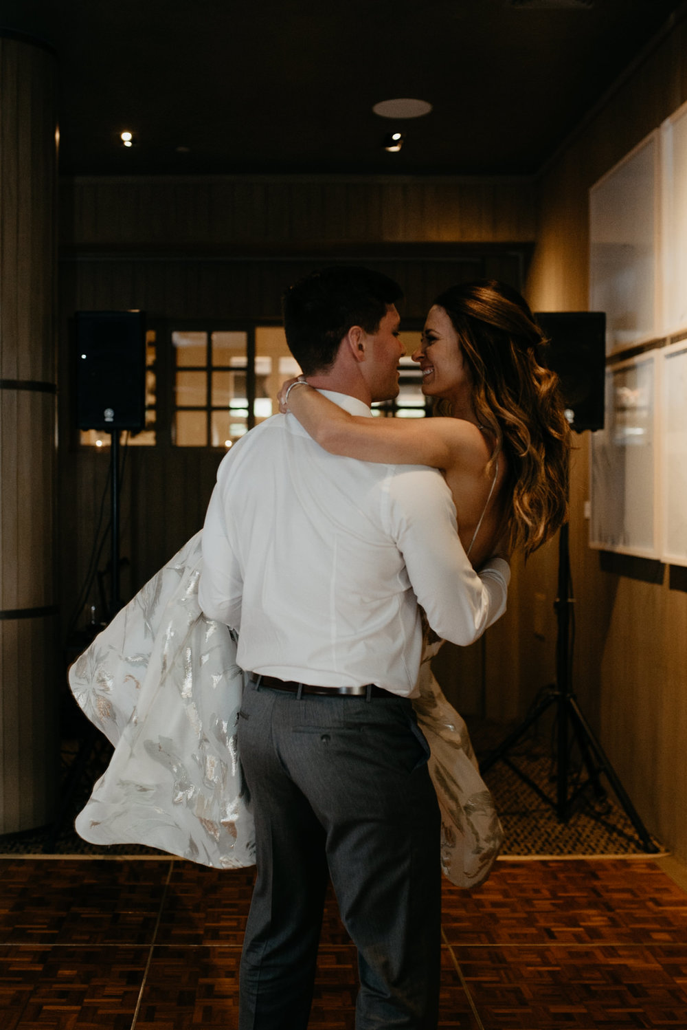 Aspen wedding photographer. Bride and groom first dance.