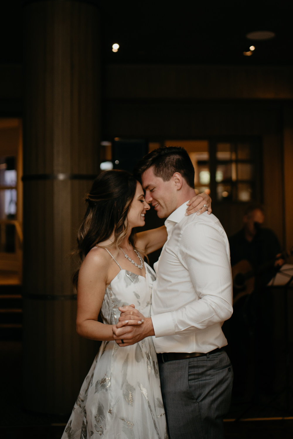First dance at The Little Nell wedding in Aspen, Colorado. Colorado wedding and elopement photographer.