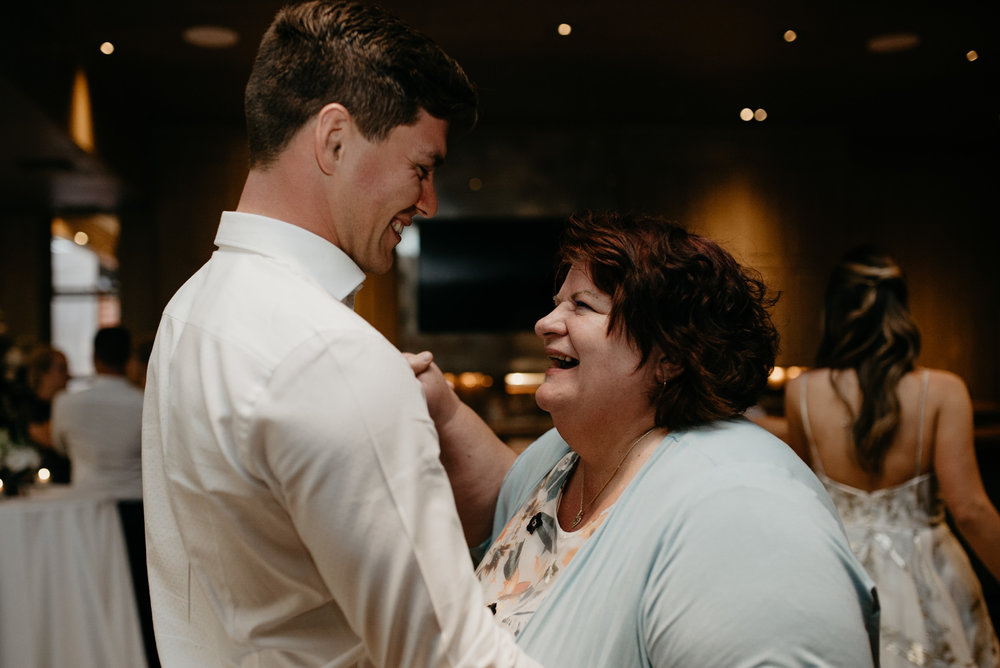 Mother & son dance at The Little Nell. Aspen, Colorado wedding photographer.