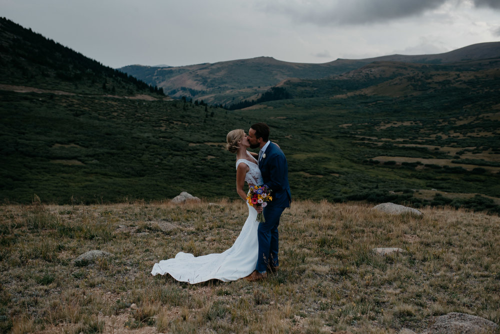 Kissing photo at a Guanella Pass elopement