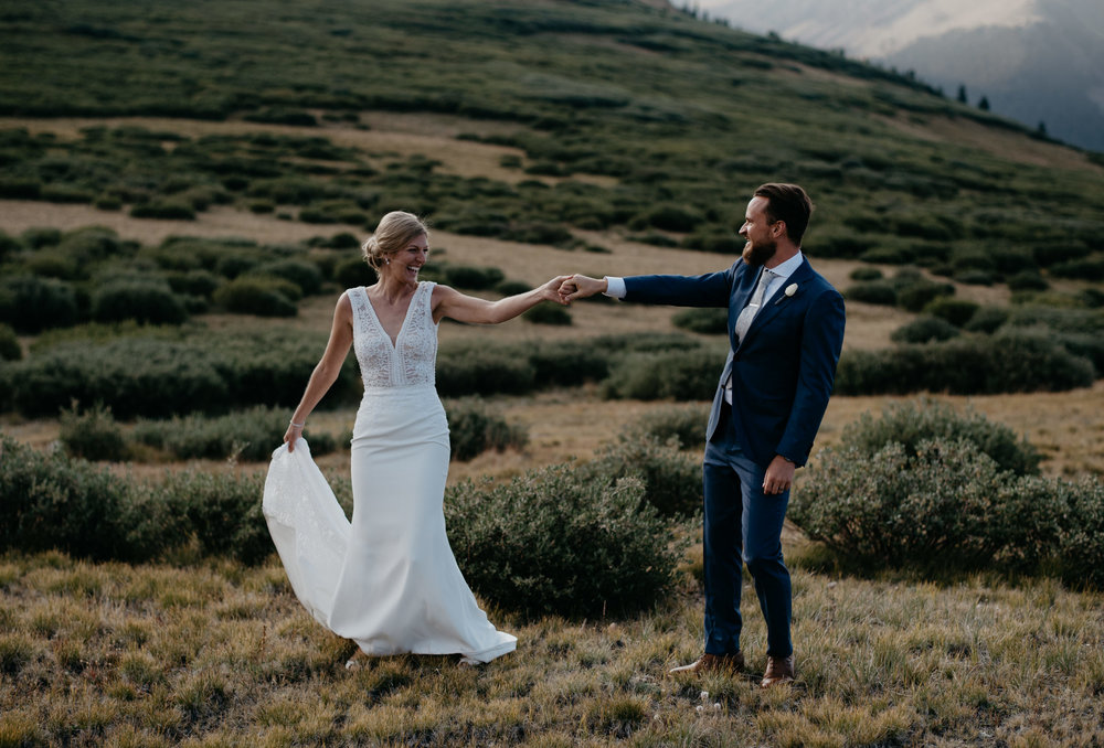 Bride and groom dancing at Georgetown wedding in Colorado. Colorado elopement and wedding photography.