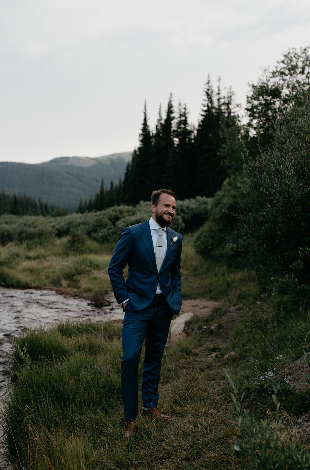 Groom portrait at a Guanella Pass elopement.