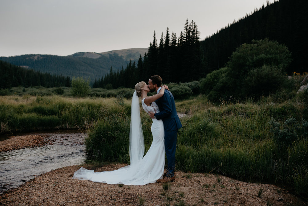Intimate mountain wedding in Colorado at Guanella Pass.