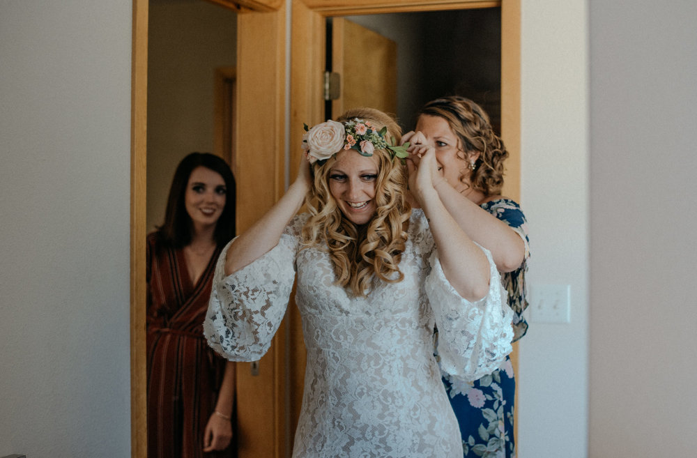 Bride getting ready photos. Rocky Mountain National Park elopement.