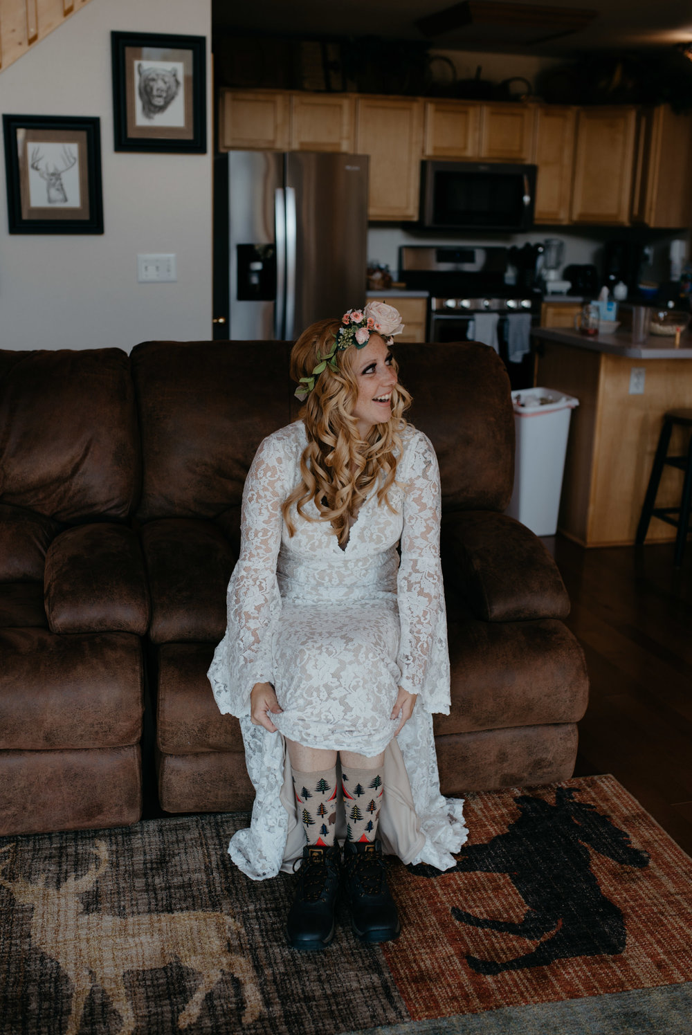 Colorado elopement photographer, hippy bride getting ready