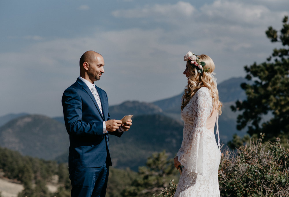 Ceremony photos for a Rocky Mountain National Park elopement at 3M curve.
