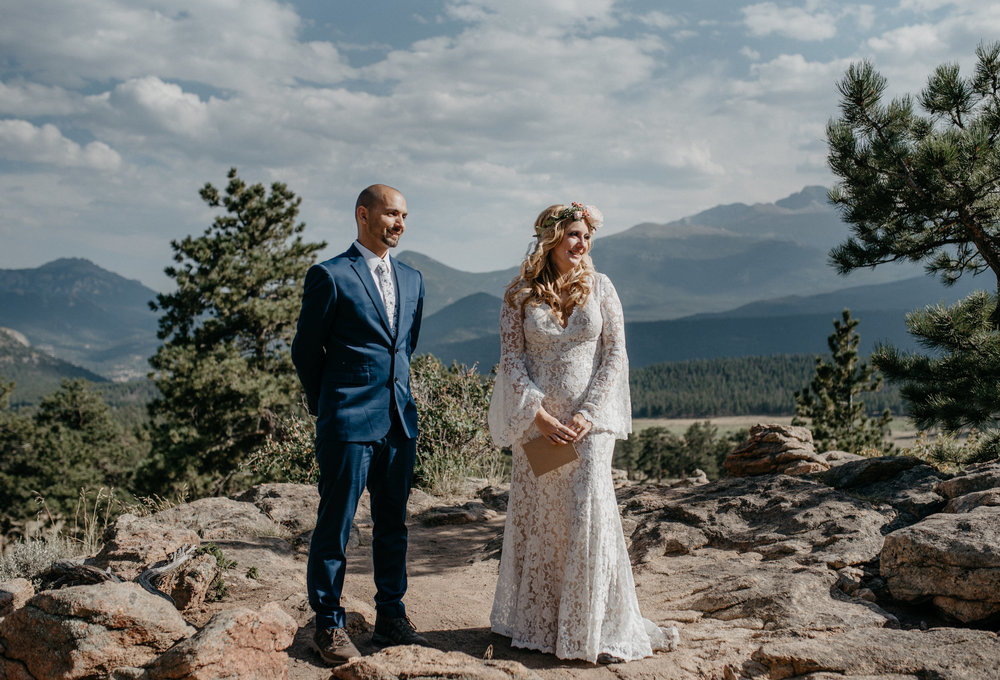 Intimate ceremony in Rocky Mountain National Park. Colorado elopement photographer.