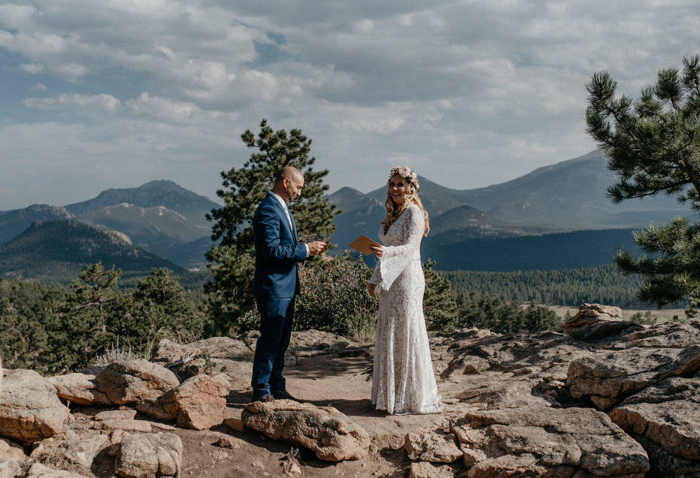 Adventure elopement at 3M curve in Rocky Mountain National Park.