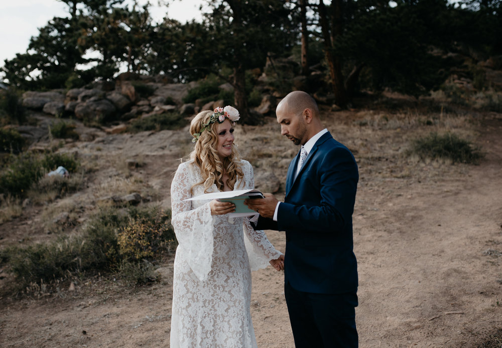 Marriage license signing at 3M curve elopement in Rocky Mountain National Park