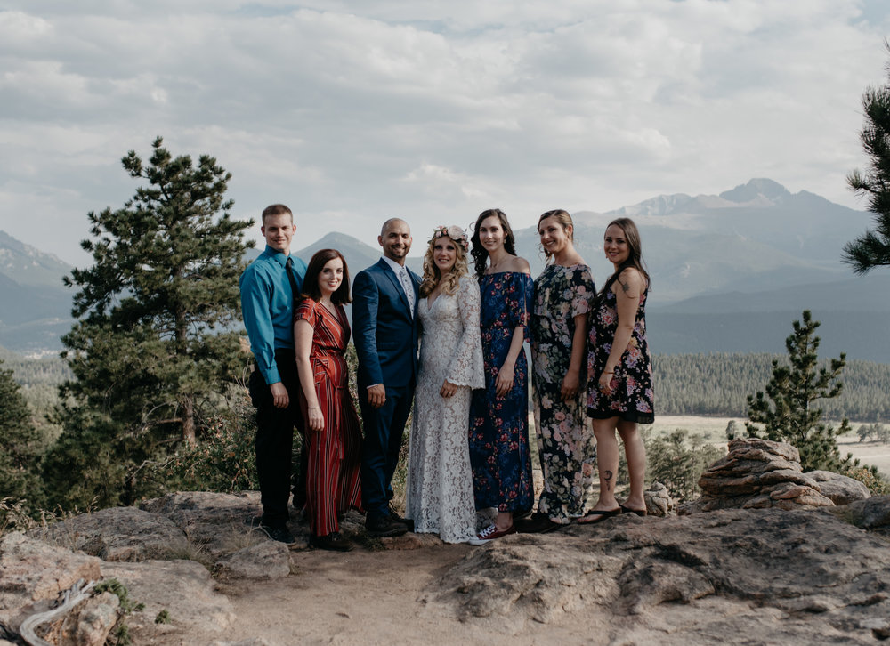 Wedding party at 3M curve for Rocky Mountain National Park elopement. Colorado elopement photographer.
