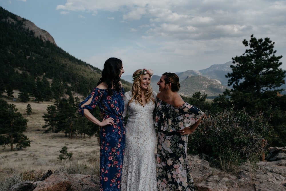 Bridesmaids photos at 3M curve elopement in Rocky Mountain National Park