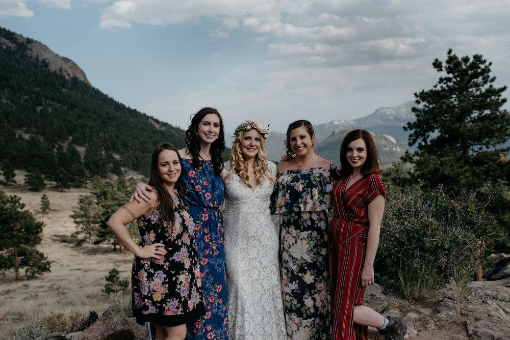 Photos of bridesmaids by Colorado wedding photographer. Estes Park elopement.