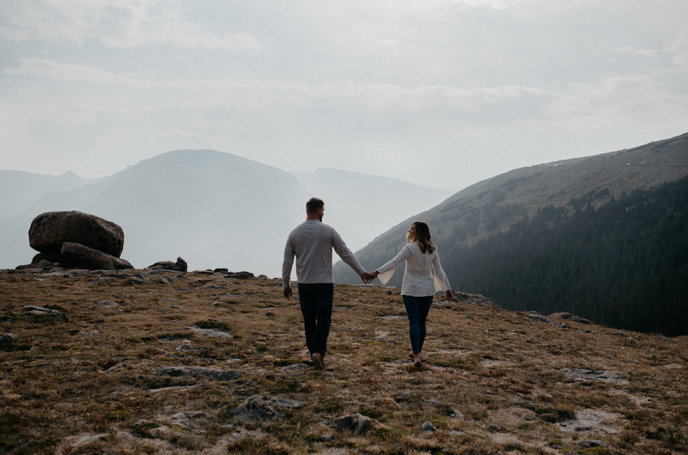 Rocky Mountain National Park engagement session on Trail Ridge Road.
