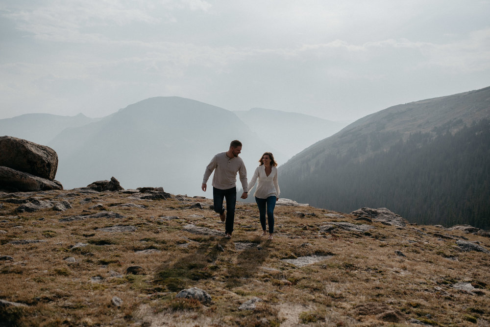 Colorado adventure engagement session in Rocky Mountain National Park.