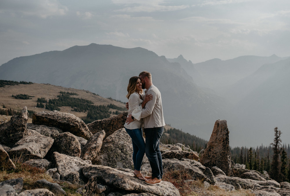 Trail Ridge Road engagement session photos in Rocky Mountain National Park. Colorado elopement and wedding photographer based in Denver.