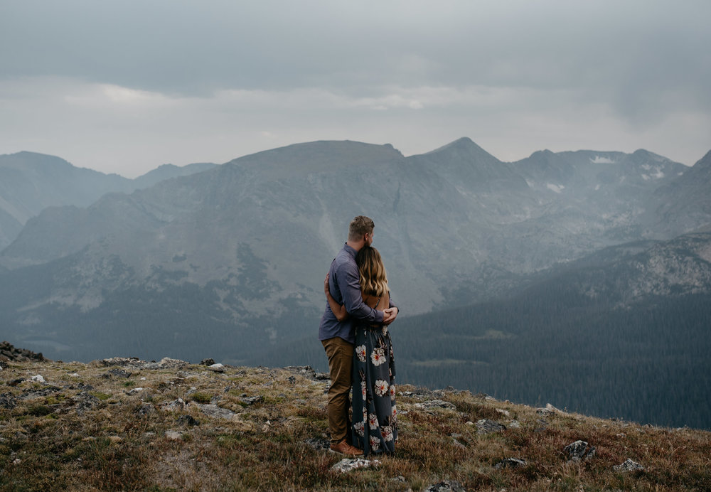 Colorado wedding photographer. Colorado mountaintop elopement photos in Rocky Mountain National Park.