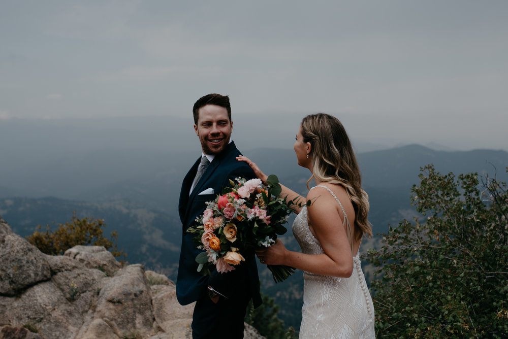 Elopement in Boulder at Lost Gulch. Bride and groom first look. Boulder, Colorado elopement and wedding photographer.