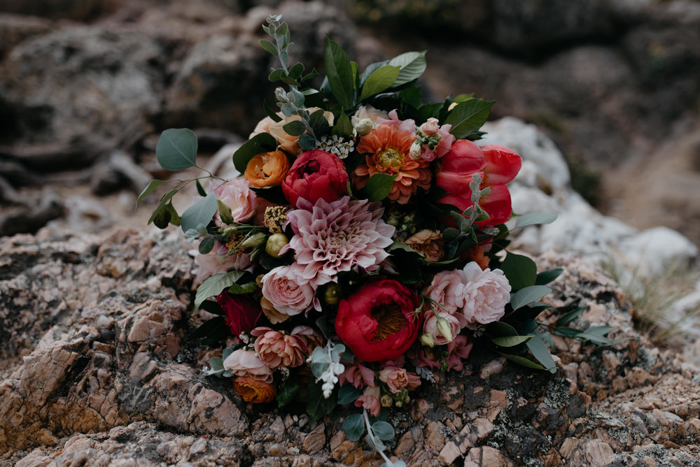 Florals, photos of bouquet. Lost Gulch elopement in Boulder. Colorado wedding and elopement photographer.