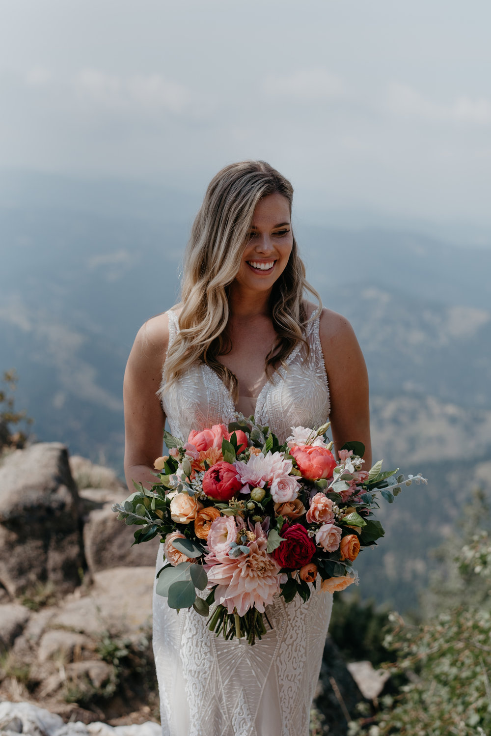 Bridal portraits at Lost Gulch elopement in Boulder, Colorado. Colorado mountain wedding photographer.