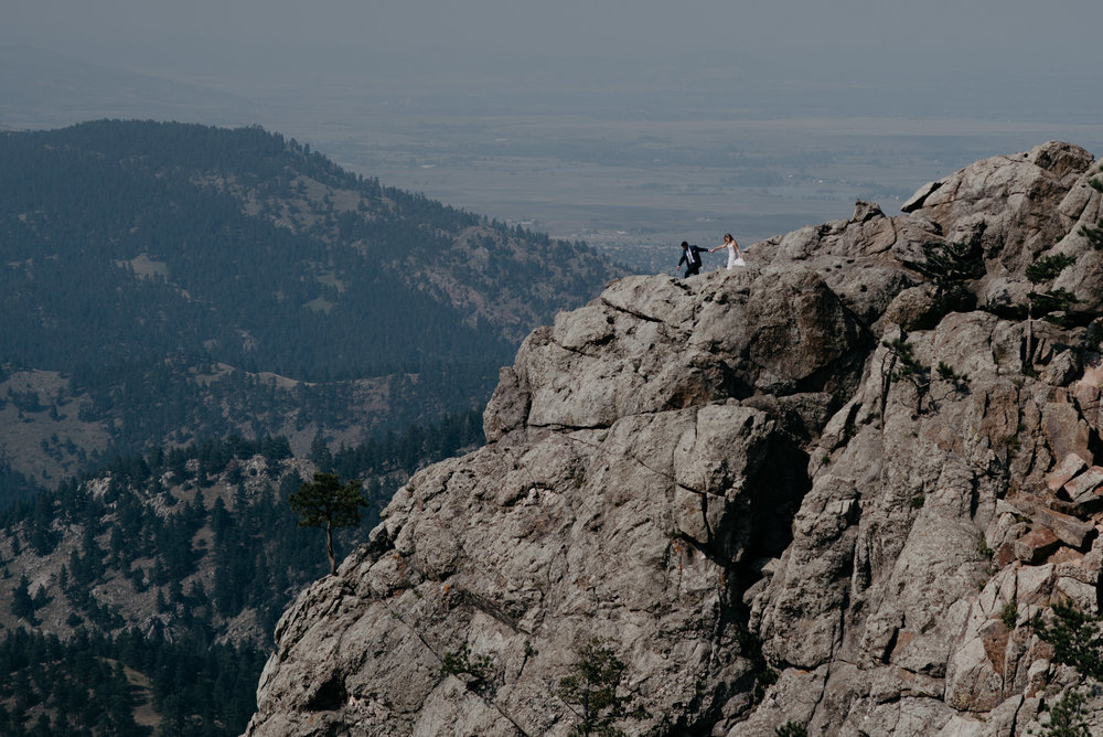 Mountaintop elopement in Boulder, Colorado. Colorado adventure elopement photographer.