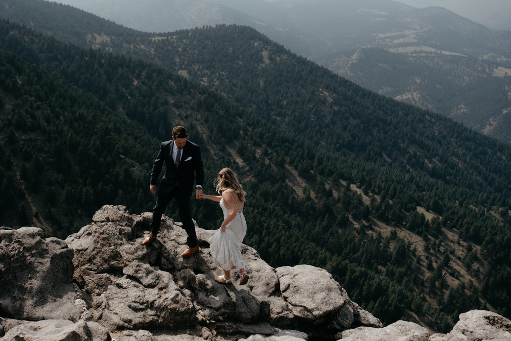 Colorado mountain elopement and wedding photographer. Mountaintop elopement photos in Colorado.