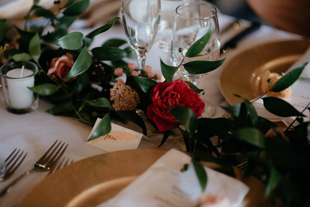 Floral centerpieces at Three Leaf Farm wedding in Boulder, Colorado. Colorado wedding and elopement photographer.