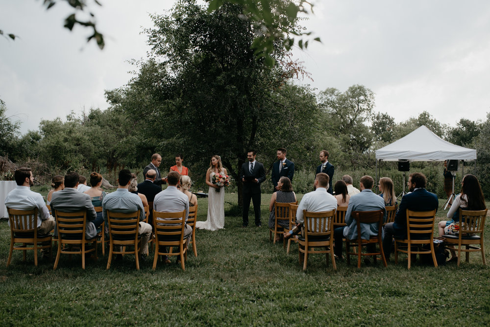 Intimate ceremony at Three Leaf Farm. Boulder, Colorado wedding photographer.