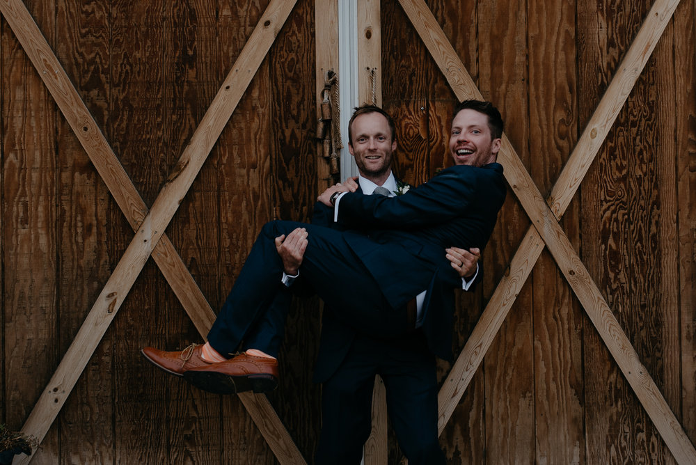 Groom and best man at Boulder, Colorado wedding.