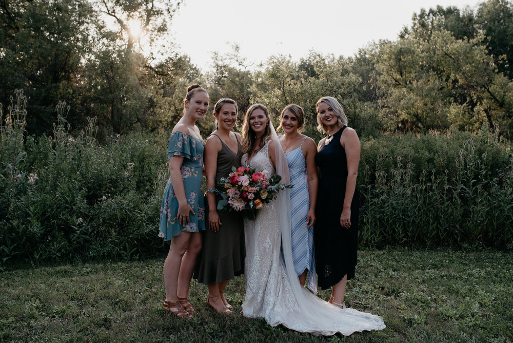 Boulder, Colorado wedding photography. Bridesmaids photos at Three Leaf Farm wedding.
