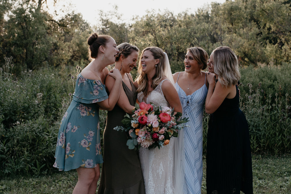 Bridesmaids photos at Three Leaf Farm wedding in Boulder, Colorado. Colorado mountain elopement and wedding photographer.