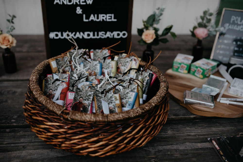 Wedding favors at Three Leaf Farm wedding in Boulder, Colorado. Colorado mountain wedding photographer.