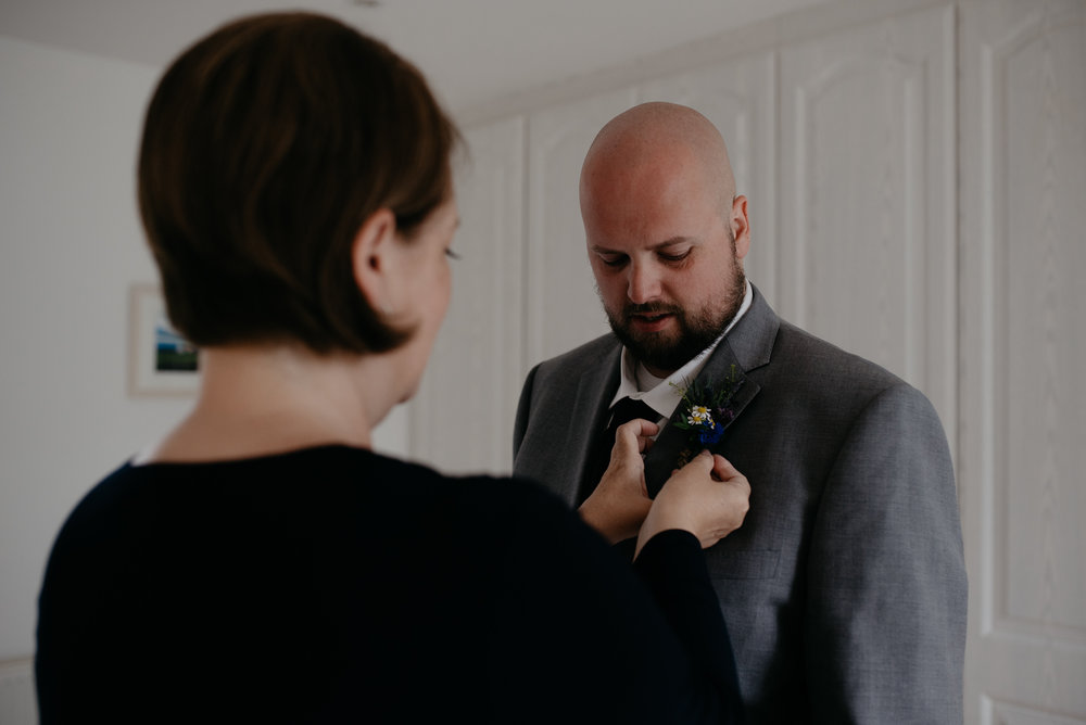 Groom getting ready. Ireland wedding photographer.