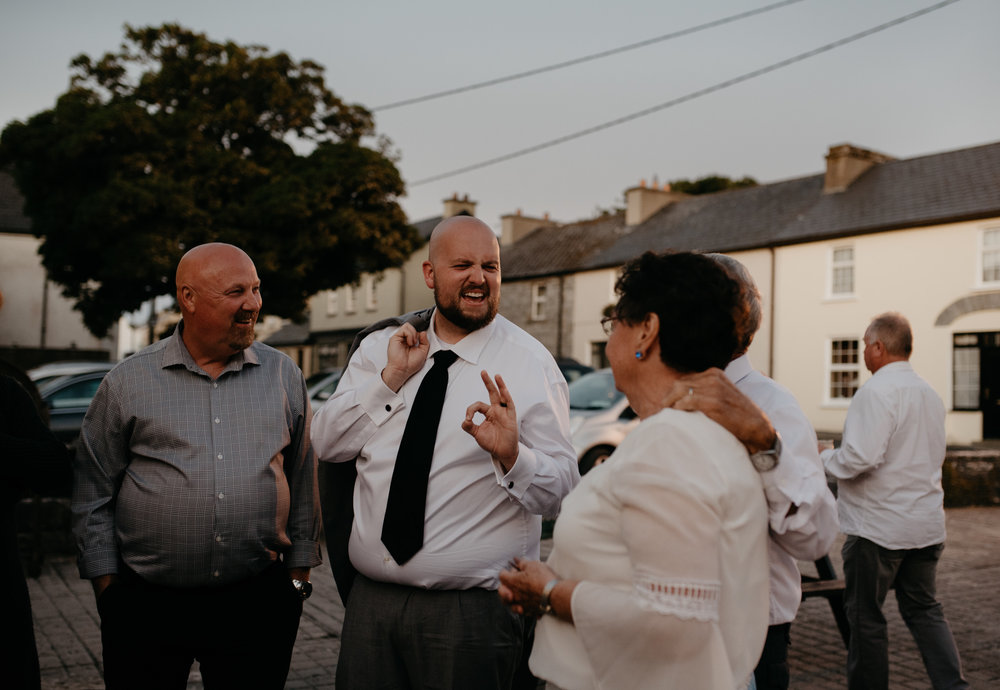 Destination wedding in County Clare, Ireland. Reception at Vaughan's Pub in Kilfenora. Ireland wedding and elopement photographer.