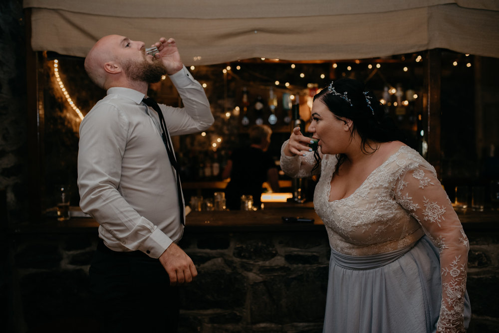 Wedding reception at Vaughn's Pub. County Clare, Ireland wedding photographer.
